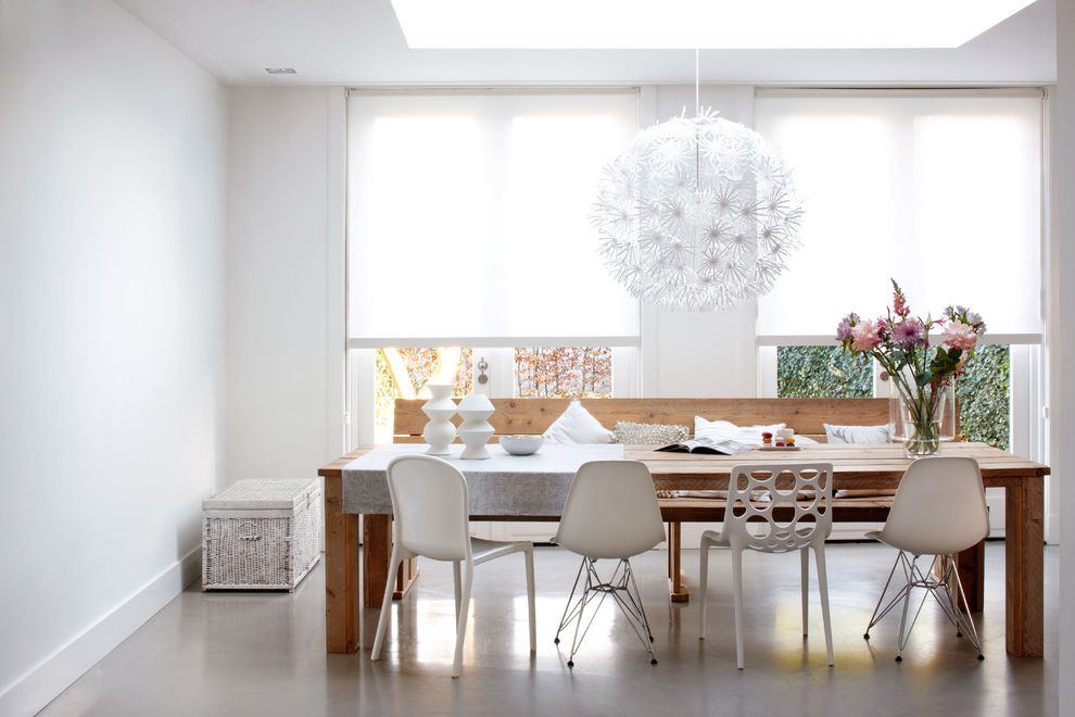Narrow Farmhouse Table with Contemporary Dining Room  and Contemporary Design Designer Roller Shades Dining Room Dining Tables Light Fixtures Lighting Fixtures Modern Light Fixture Shades White Window Treatments Wood Bench Wood Console Table