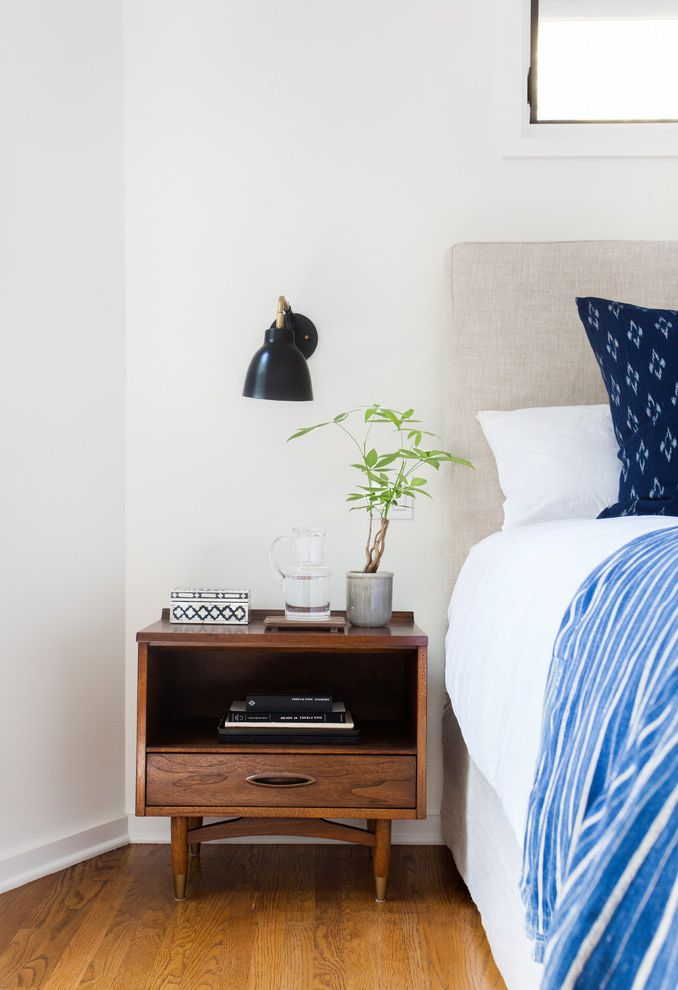 Narrow Night Table   Eclectic Bedroom  and Beach Home Bohemian California Style Collection Eclectic Indigo Bedding Mid Century Modern Bedside Table Mid Century Side Tables Sconce Sconces