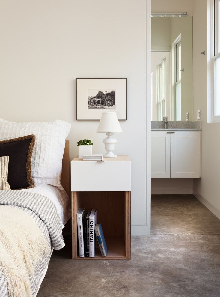 Narrow Night Table   Transitional Bedroom  and Bed Bedding Concrete Floor Guest Bedroom Houseplans Com Mirror Modern Nightstand Modern Ranch Nightstand Table Lamp Vanity White