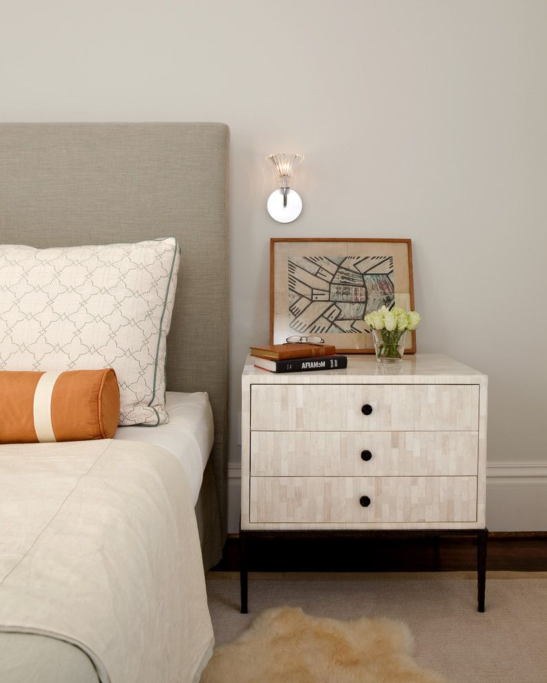 Narrow Night Table with Contemporary Bedroom Also Artwork Bed Pillows Bedside Table Bolster Pillow Floral Arrangement Inlay Nightstand Orange Accent Sconce Upholstered Headboard Wall Lighting