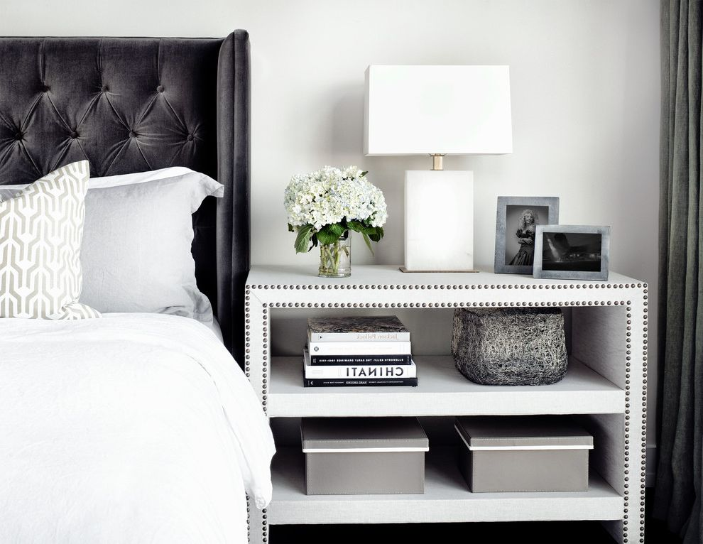 Narrow Night Table with Contemporary Bedroom Also Bedside Table Casual Curated Eclectic Feminine Hydrangeas Industrial Loft Masculine Modern Nailhead Trim Storage Box Tufted Headboard Upholstered Headboard Urban Vintage White Bedding White Flowers