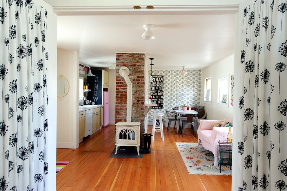 Narrow Stove   Shabby Chic Style Living Room Also Accent Wall Bend Black and White Wallpaper Brick Chimney Color Cottage Curtains Eclectic Jotul Oregon Pink Sofa Remodel Small Space Smeg Vintage Wood Floors Wood Burning Stove