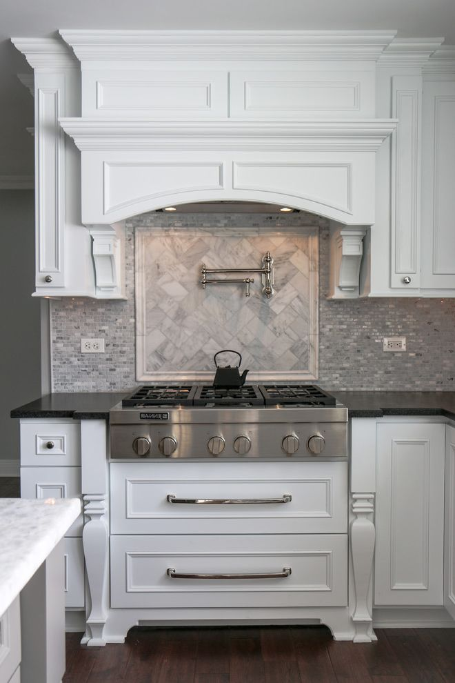 Narrow Stove   Traditional Kitchen Also Black Granite Counter Mosaic Grey Tile Backsplash Stainless Steel Stove White Cabinet White Grey Marble Backsplash White Marble Kitchen Island White Wood Stove Hood