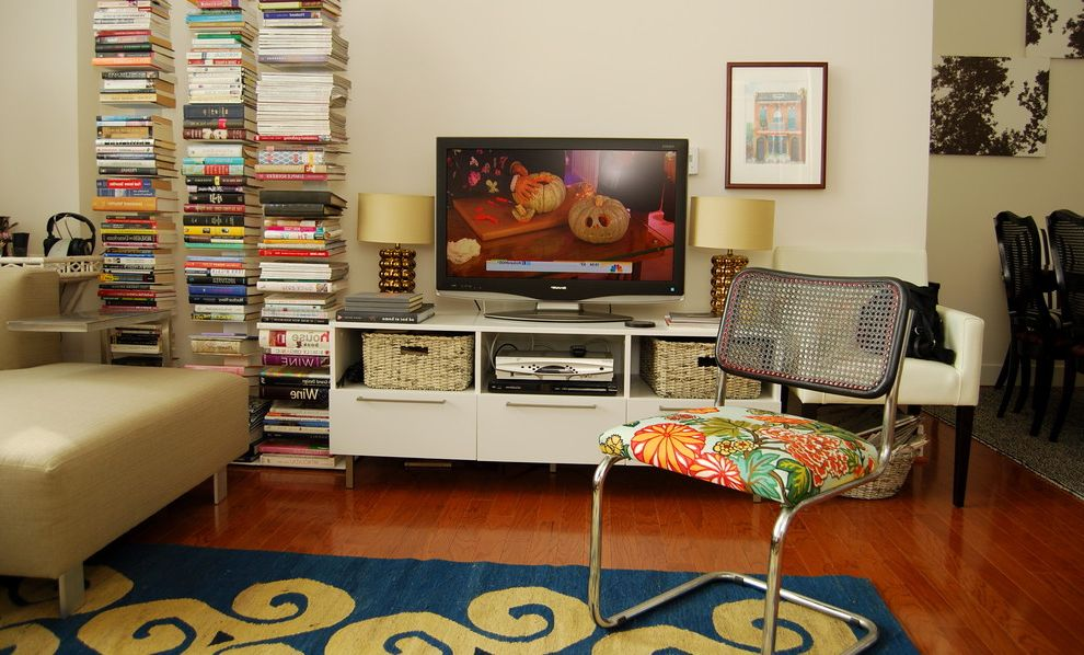 Narrow Tv Stand with Eclectic Living Room  and Area Rug Bold Colors Bookcase Graphic Rug Media Storage Tv Credenza Tv Stand Wall Art Wall Decor Wall Shelves Wall Unit Wood Flooring