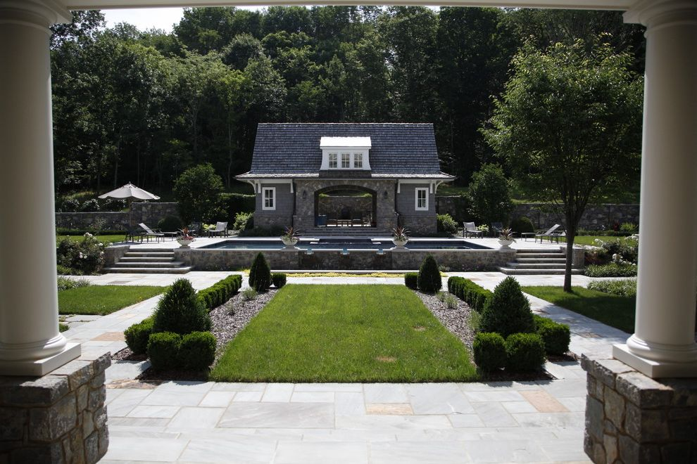 Nashville Pool Company   Traditional Pool  and Estate Garden Path Grass Hedge Lawn Outdoor Stairs Patio Paving Pavers Pool Pool House Symmetry Terrace Turf