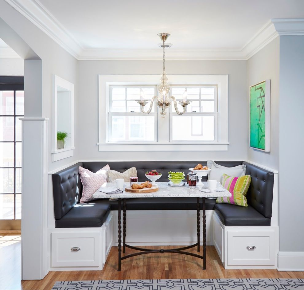 Nassau to Harbour Island with Transitional Dining Room Also Airy Arched Doorway Art Beauty Bench Black Cushions Bright Built in Banquette Built in Bench Chandelier Nook Storage