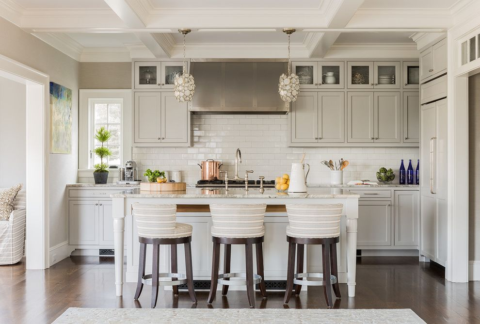 Nassau to Harbour Island with Transitional Kitchen Also Bridge Faucet Clerestory Cabinet Coffered Ceiling Pendant Light Striped Bar Stools White Countertop