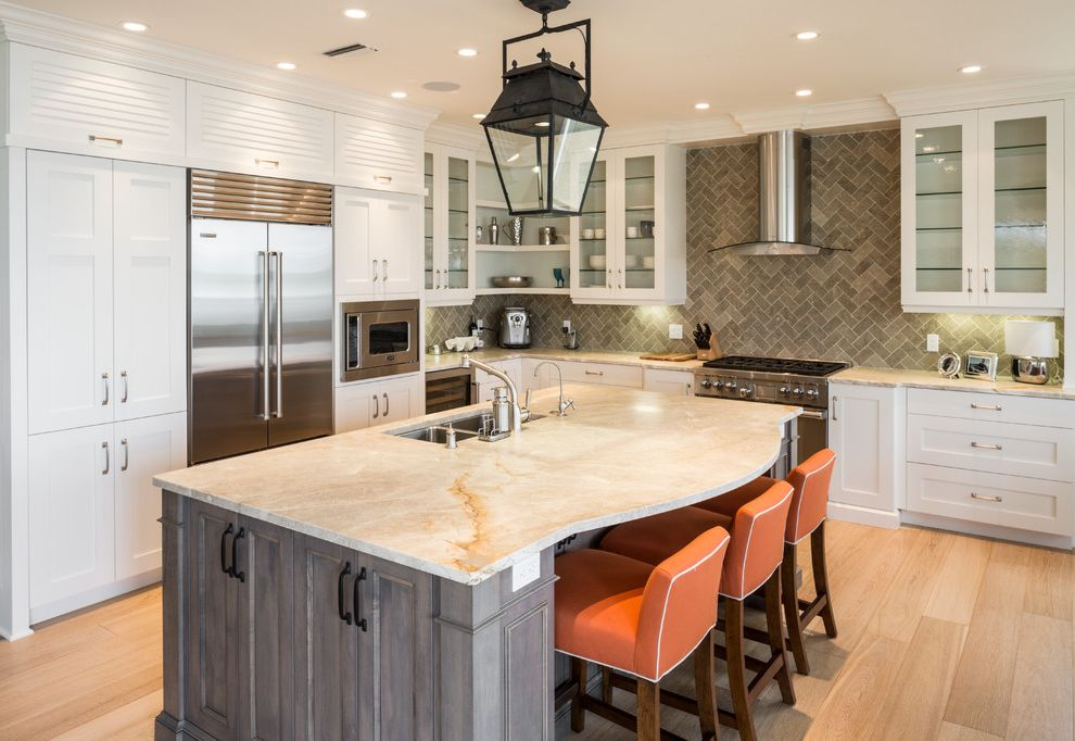 Nassau to Harbour Island with Transitional Kitchen  and Glass Doors Granite Tops Herringbone Tile Hood Lighting Over Countertop Orange Bar Stools Pendant Light Recessed Lighting Shelves White Cabinets