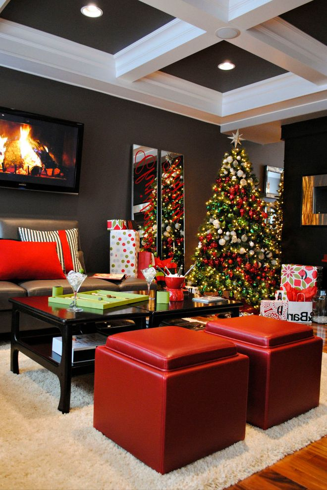 Natural Looking Christmas Trees with Contemporary Living Room  and Accent Ceiling Ceiling Lighting Christmas Tree Coffered Ceiling Dark Gray Walls Leather Footstools Painted Ceiling Recessed Lighting Red Accent Storage Poufs Wall Art Wall Decor
