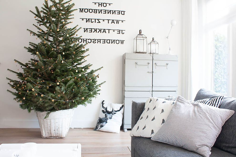 Natural Looking Christmas Trees with Scandinavian Living Room  and Christmas Christmas Tree Decorative Pillows Garland Lanterns My Houzz Neutral Colors Throw Pillows Wall Letters Wood Floors