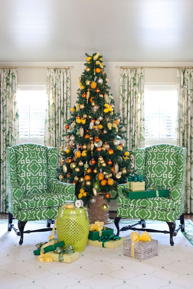 Natural Looking Christmas Trees with Traditional Living Room  and Armchair Christmas Tree Color Curtain Decoration Eclectic Green Green Side Table Holiday Rug Side Table Stool Window Treatment