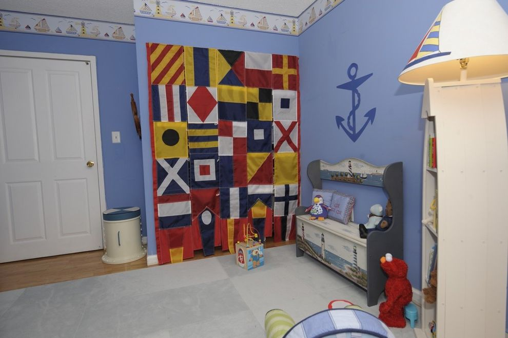 Nautica Quilts   Eclectic Nursery  and Anchor Bedroom Blue Walls Flags Nautical Nursery Playroom Storage Bench Toy Storage Wall Art Wall Decor Wallpaper Wallpaper Border