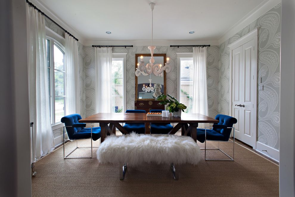 Navy Blue Velvet Chair   Transitional Dining Room Also Bench Seat Blue Tufted Upholstery Bust Chandelier Chrome Curtain Panels Mirror Raised Panel Door Sculpture Sheep Skin Wallpaper White Trim Window Treatment Wood Dining Table Woven Floor Covering