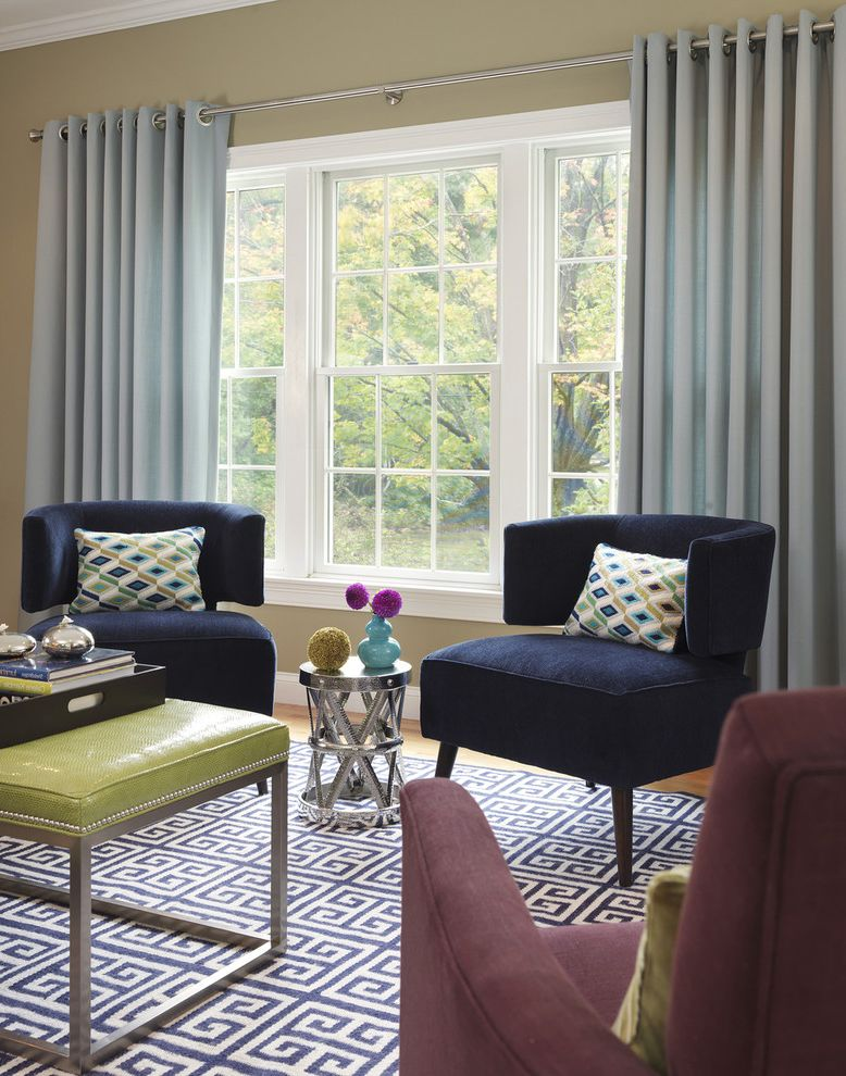 Navy Blue Velvet Chair   Transitional Living Room  and Bold Color Bright Color Chrome Curtain Rod Curtains Graphic Greek Key Leather Coffee Table Metal Pattern Silver Throw Pillows Tray Upholstered Side Chairs