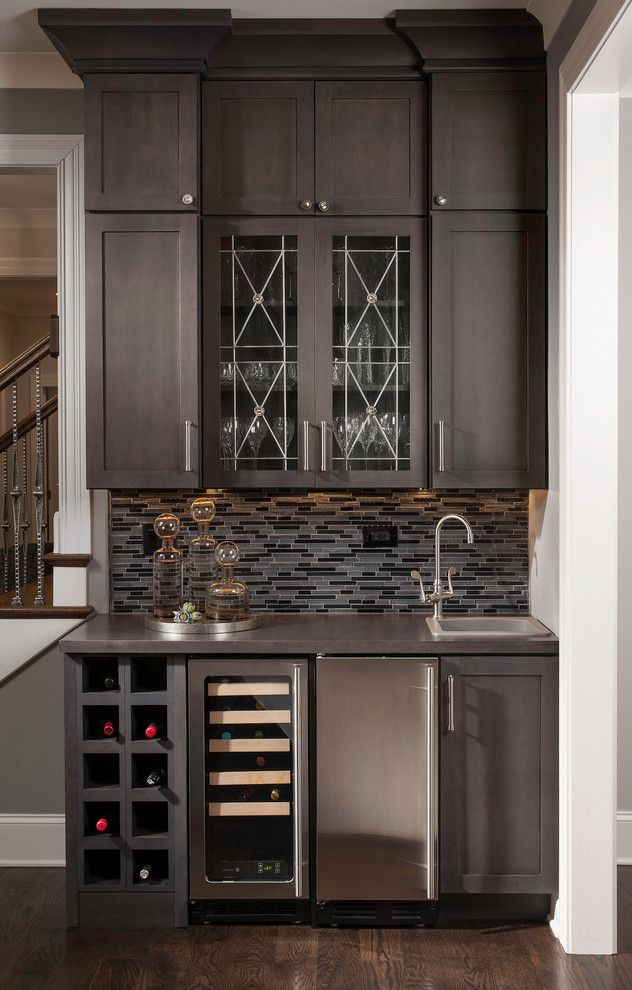New Air Portable Ice Maker   Transitional Home Bar Also Bar Built in Creative Millwork Design Dark Wood Flooring Dining Room Glass Mosaic Tile Leaded Glass Sink Under Cabinet Lighting Wet Bar Wine Refrigerator