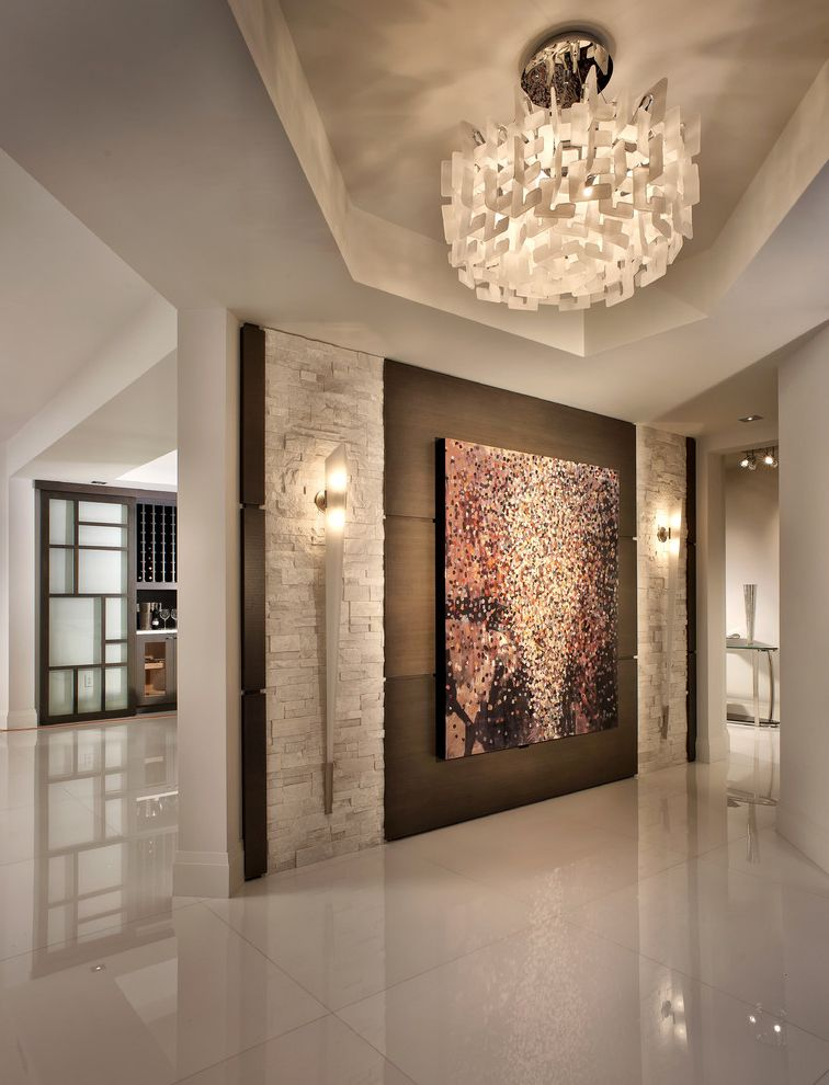 New Homes in Mansfield Tx with Contemporary Entry  and Contemporary Design Custom Ledger Stone Doorway High Gloss Floors Neutral Pendant Light Stone Wall Tray Ceiling Wall Art Wall Sconces Wine Cellar