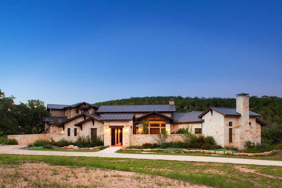 New Homes In Mansfield Tx With Mediterranean Exterior Also Courtyard Limestone Exterior Metal Roof Metal Seam Roof New Custom Home Rock Wall Rustic Modern Stained Beams Texas Hill Country Wimberley Texas