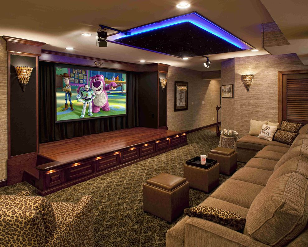 New Lenox Theater   Contemporary Home Theater  and Bar Home Theater Leopard Print Media Room Motorized Curtain Neon Light Screening Room Stage Star Field Storage Cube Wall Covering