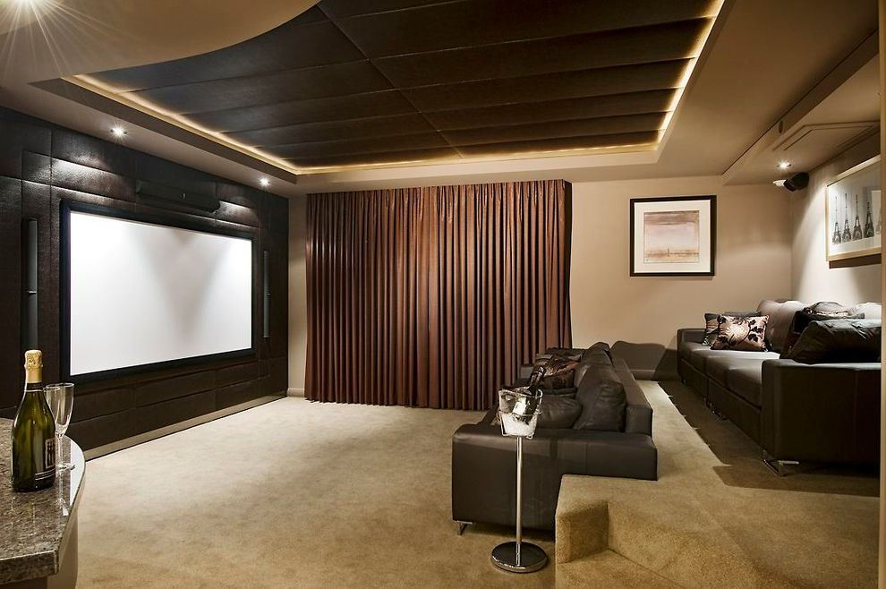 New Lenox Theater   Transitional Home Theater  and Bar Area Beige Brown Carpeting Cove Lighting Curtain Wall Leather Upholstery Metallic Finishes Movie Screen Sofa Two Sofas Upholstered Ceiling Upholstered Walls