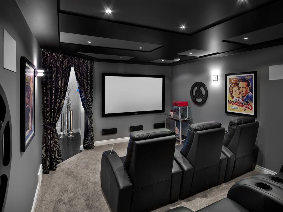 New Lenox Theater with Transitional Home Theater  and Black and Gray Carpet Coffered Ceiling Curtains Home Theatre Leather Chairs Projection Screen Recessed Lighting Theatre Room Theatre Seating Wall Art