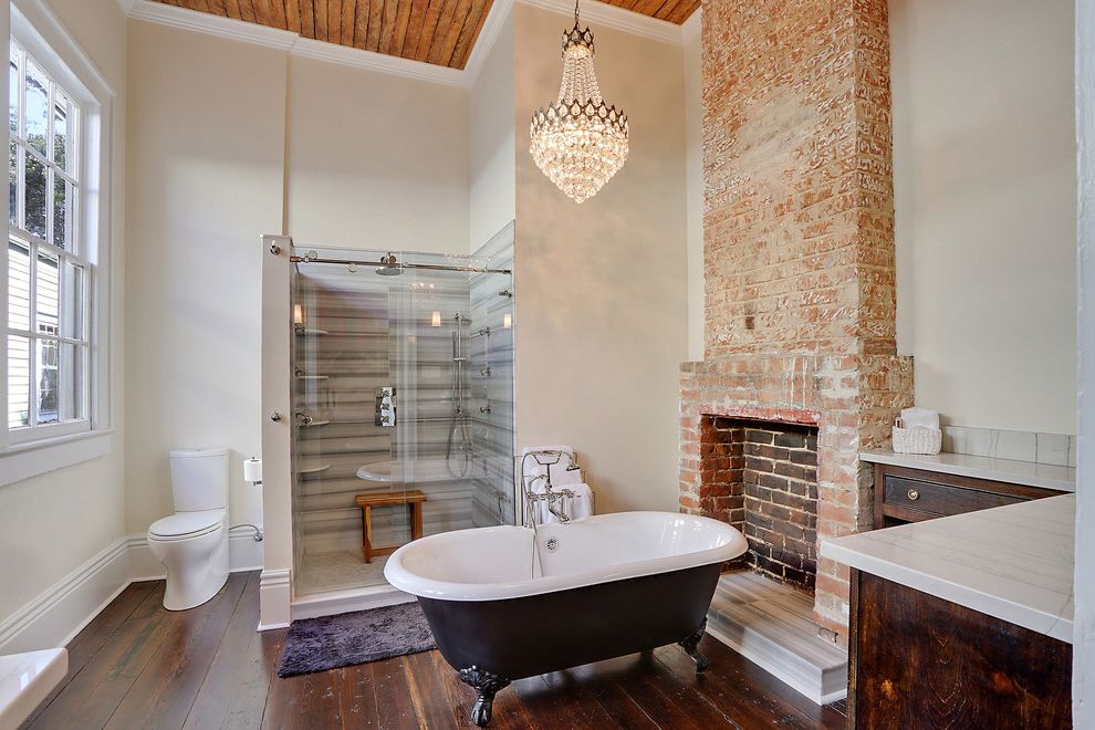 New Orleans Gas Lights   Transitional Bathroom Also Brick Walls Chandelier Contemporary Old Fireplace Rustic Wood Unused Fireplace White Walls Whitewashed Brick