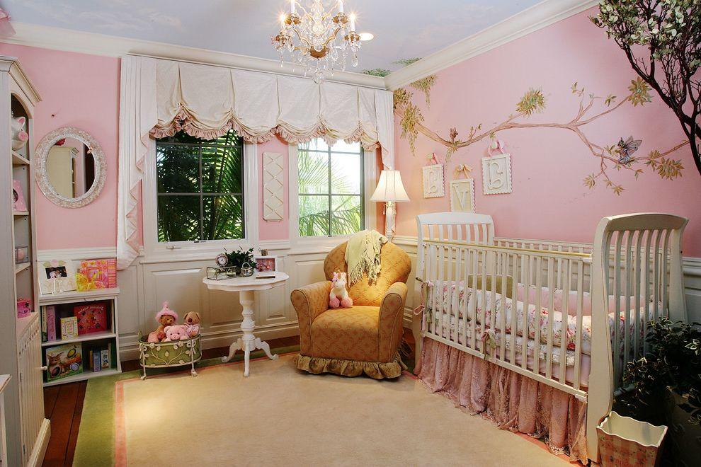 Newborn Baby Girl Pics   Traditional Kids Also Balloon Curtains Crown Molding Interior Design California Interiors Remembered Orange County Ca Interior Design Pink Walls Wall Mural White Crib