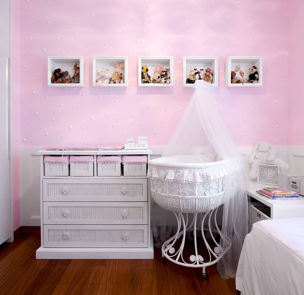 Newborn Baby Girl Pics   Traditional Nursery Also Baby Bassinet Chest of Drawers Dresser Girls Room Kids Mosquito Net Nursery Pink Room Pink Walls Polka Dots Wall Shelves Wicker Furniture Wood Flooring