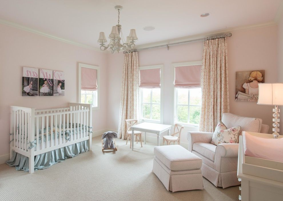 Newborn Baby Girl Pics   Traditional Nursery Also Chandelier Elephant Rocking Horse Ight Pink Pale Pink Pink Roman Shades White Crib