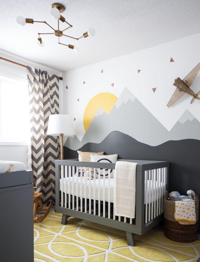 Newborn Baby Girl Pics   Transitional Nursery  and Chevron Curtains Modern Crib Mountain Mural Nursery Decor Nursery Furniture Storage Basket Wall Art Wall Mural Yellow Ruf