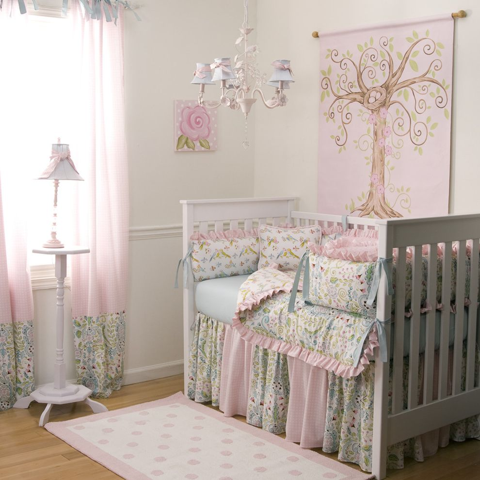 Newborn Baby Girl Pics with Traditional Kids Also Birds Chandelier Crib Crib Bedding Girl Baby Bedding Girl Nursery Love Birds Nursery Idea Pink Pink and Blue Nursery Rug Wood Floor