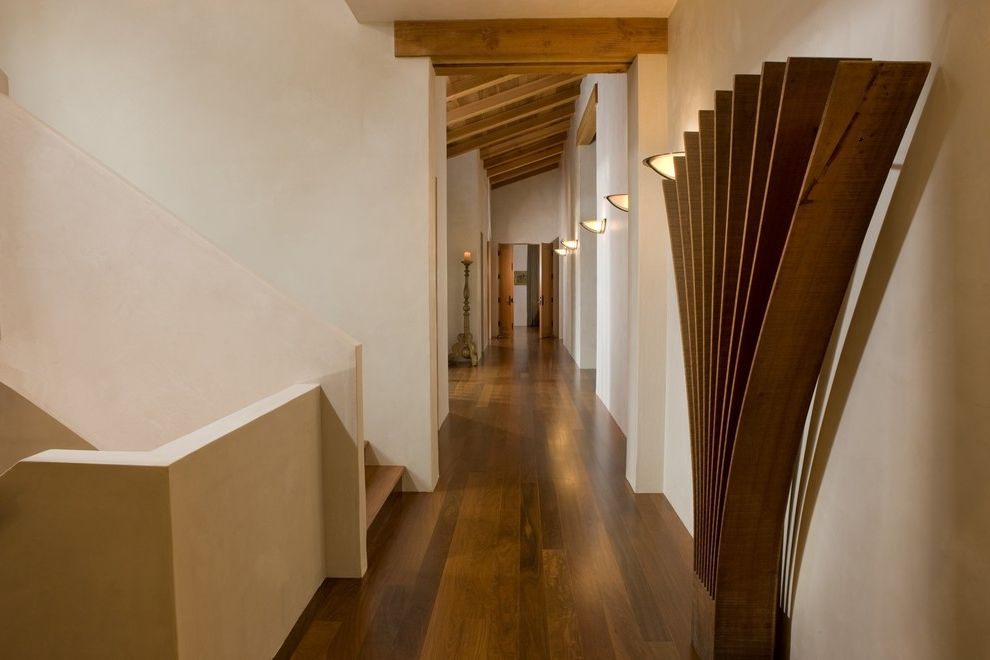 Nichols Lumber   Contemporary Spaces  and Dark Wood Floor Gallery Grand Hallway Long Corridor Passageway Plaster Handrail Plaster Stair Rail Plaster Walls Polished Wood Floor