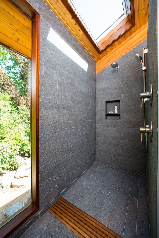 No Threshold Shower   Contemporary Bathroom Also Art Studio Curbless Shower Exposed Beams Grey Tile Modern No Threshold Shower Renovation Shower Niche Skylight Walk in Shower Window Zero Threshold Shower