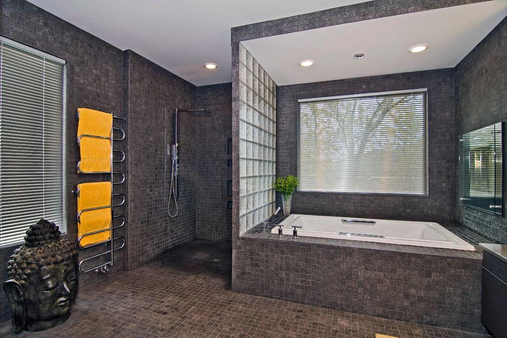 No Threshold Shower   Contemporary Bathroom Also Buddha Head Curbless Shower Glass Block Soaking Tub Tile Floors Tile Tub Surround Tile Walls Towel Warmer Walk in Shower Zero Threshold Shower