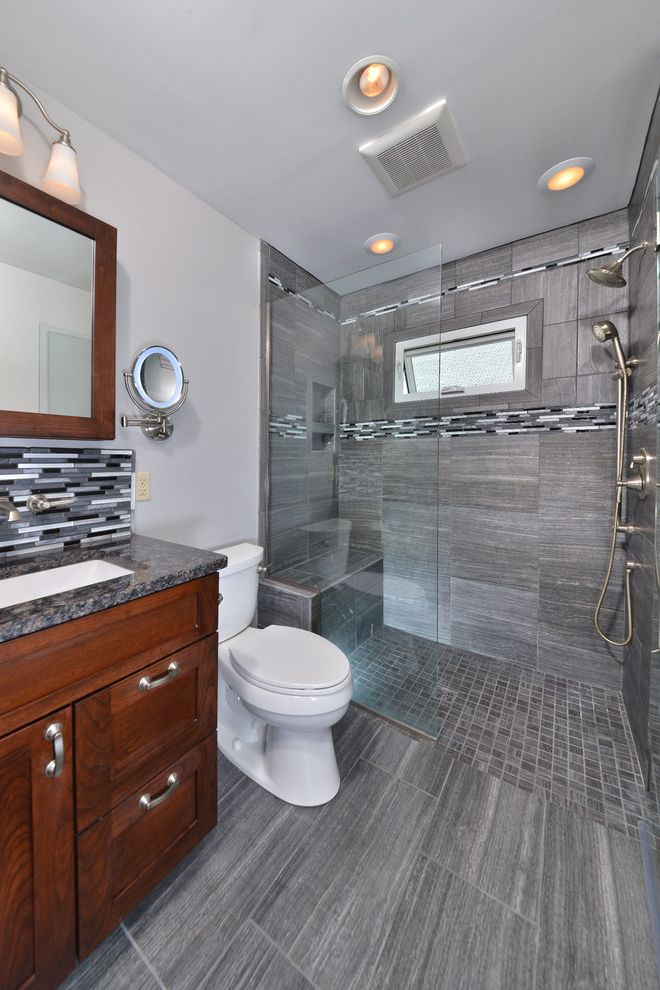 No Threshold Shower   Contemporary Bathroom  and Awning Window Ceiling Lighting Curbless Shower Makeup Mirrors Shower Window Tile Floors Tile Stripe Walk in Shower Zero Threshold Shower