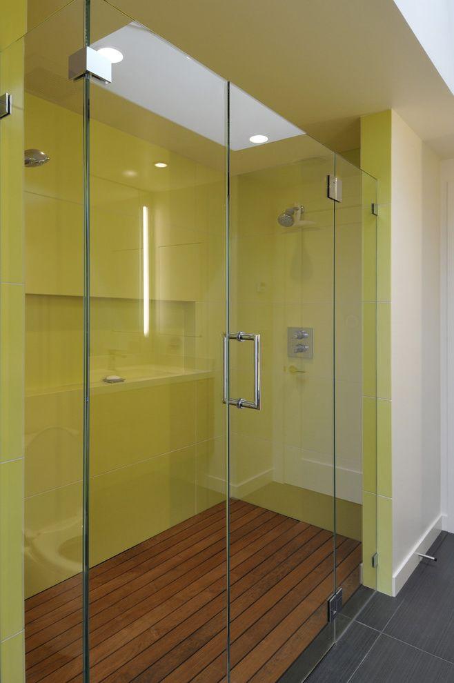No Threshold Shower   Contemporary Bathroom  and Dark Floor Decking Glass Shower Door Neon Green Niche Recessed Lighting Shower Shelf Skylights Tile Flooring Wood Flooring