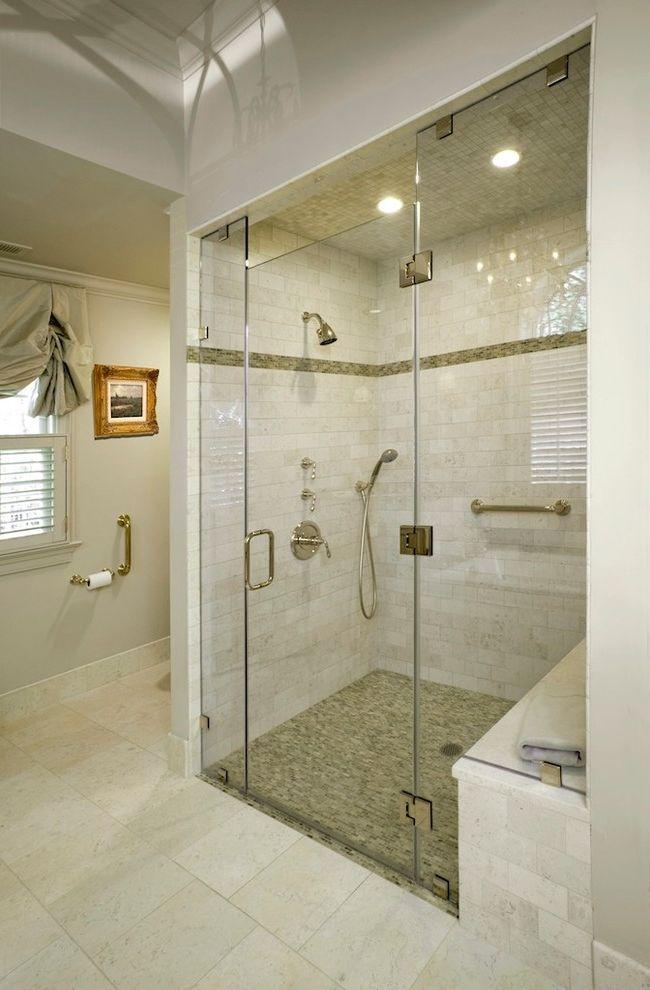 No Threshold Shower   Traditional Bathroom Also Ceiling Lighting Frameless Shower Door Gray Walls Recessed Lighting Shower Bench Shower Tile Subway Tile Tile Floors Tile Stripe Zero Threshold Shower