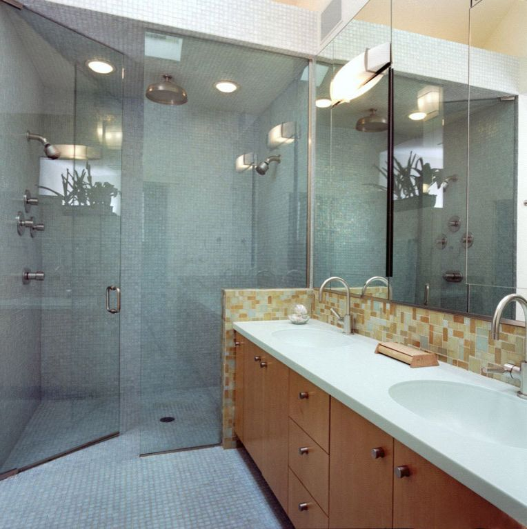 No Threshold Shower with Contemporary Bathroom  and Barrier Free Bath Lighting Bath Tubs Cabinets Double Sink Faucet Floor Tile Glass Screen Green Huge Shower Mirror Recessed Lighting Shower Shower Tiles Sink Tap Vanity