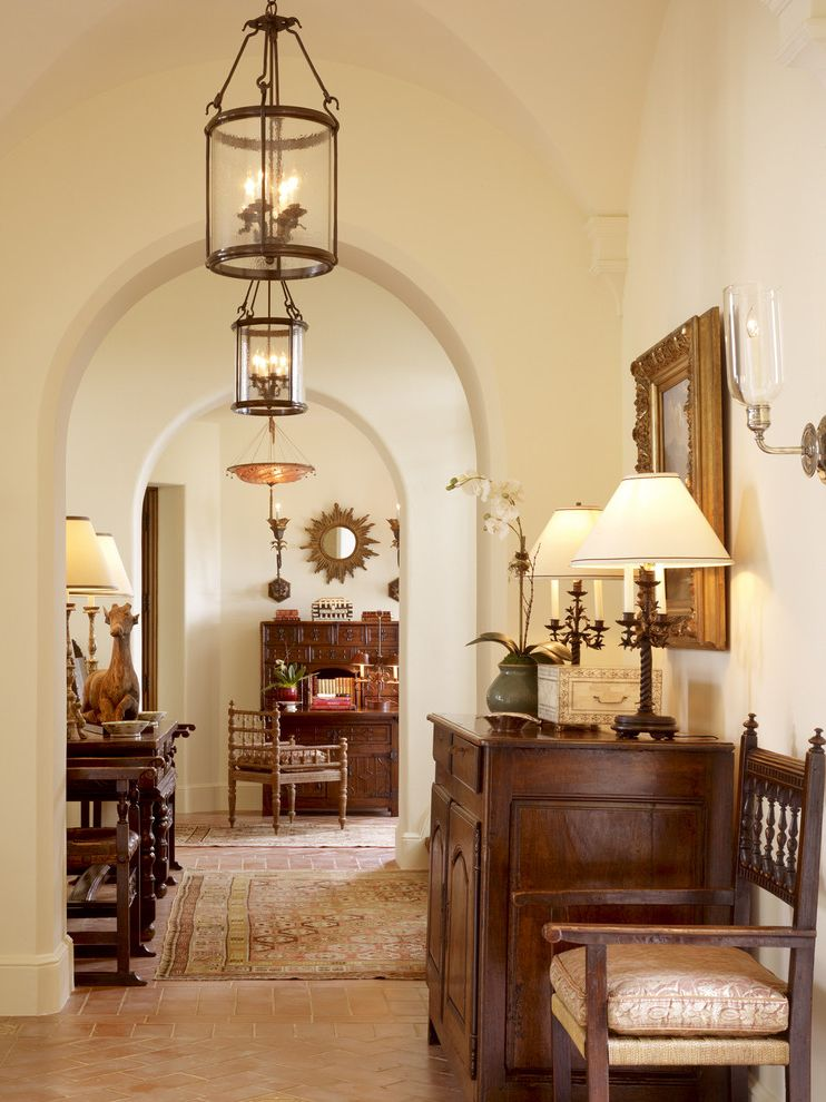 Noaa San Diego with Traditional Hall  and Antique Archway Area Rug Baseboards California Console Table Entry Lantern Lanterns Mediterranean Mirror Outdoors Sloped Ceiling Spanish Sunburts Sunny Terra Cotta Tile Floor Vaulted Ceiling Wall Art Wall Decor