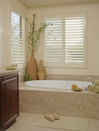Norman Window Fashions with Transitional Bathroom  and Cellular Shades Composite Shutters Designer Roller Shades Faux Wood Shades Honeycomb Shades Interior Shutters Norman Window Fashion Normandy Roller Blinds Wood Blinds