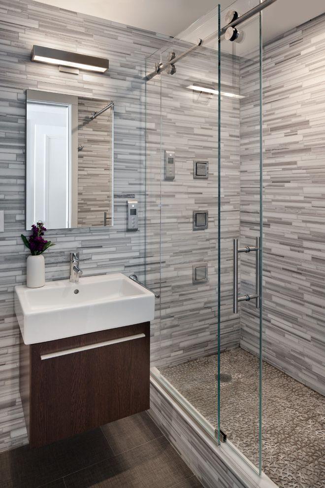 Northwest Shower Door   Contemporary Bathroom  and Bathroom Lighting Deck Mount Sink Floating Vanity Frameless Bathroom Mirror Gray Bathroom Modern Shower Fixtures Sconce Shower Tile Sliding Shower Door Tile Wall