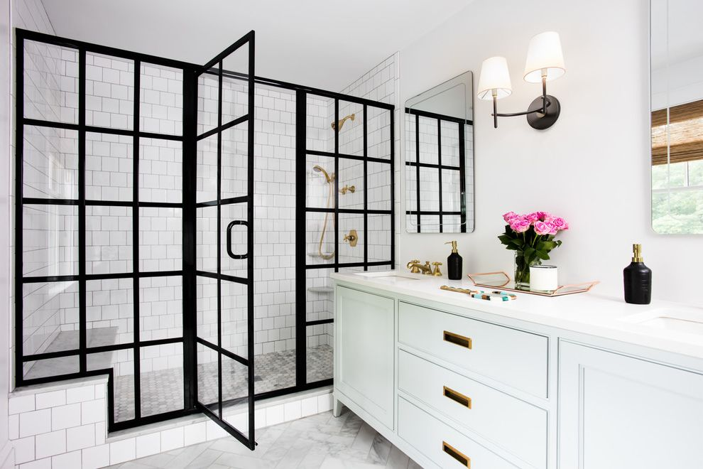 Northwest Shower Door   Transitional Bathroom  and Bathroom Wall Mirror Bathroom Wall Sconce Black and White Black Trim Contrast Full Wall Tile Glass Panel Shower Glass Shower Door Shower Bench