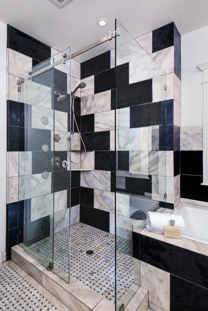 Northwest Shower Door with Contemporary Bathroom  and Basketweave Tile Floor Black and White Tile Custom Built Frameless Glass Shower Doors Handshower Sliding Glass Shower Door