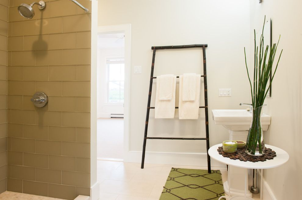 November Rain Benjamin Moore   Contemporary Bathroom Also Bamboo Bath Mat Beige Floor Beige Tile Wall Glass Vase Ladder Towel Rack Openshower Pedestal Sink White Sink White Walls