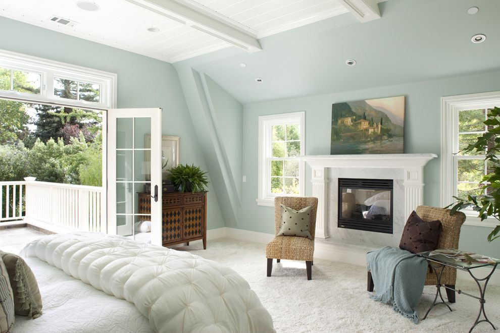 November Rain Benjamin Moore with Traditional Bedroom Also Balcony Blue Blue Walls Ceiling Lighting Fireplace Fireplace Mantel Master Bedroom Paneling Recessed Lighting White White Bedding White Carpet Wood Ceiling Woven Side Chairs
