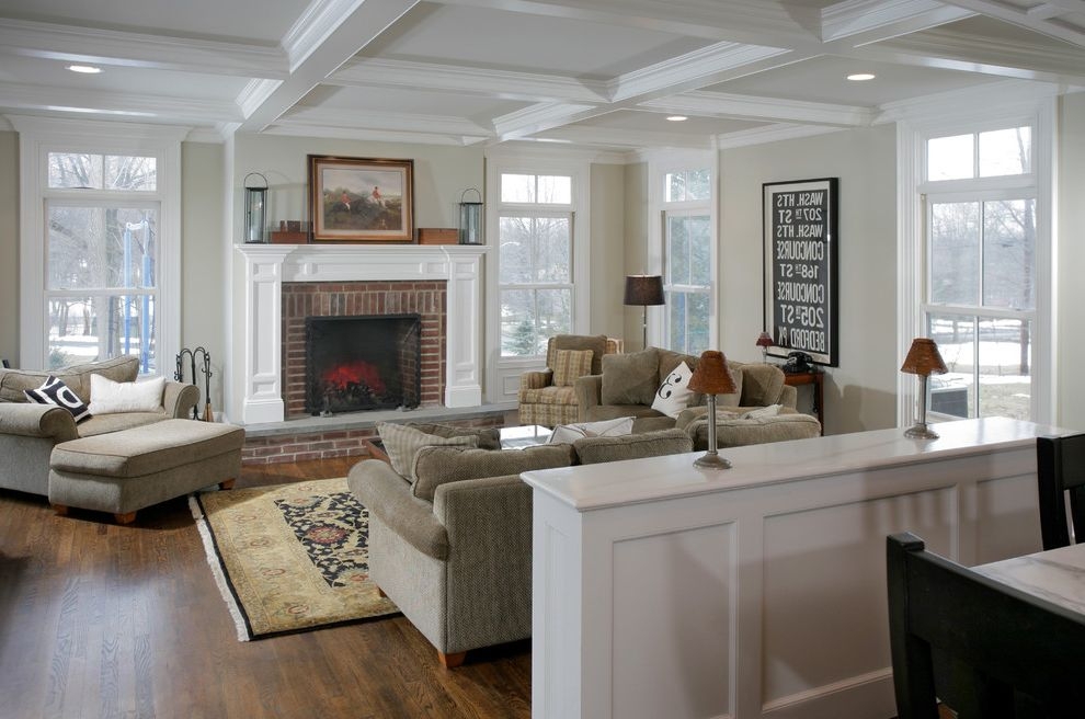 November Rain Benjamin Moore with Traditional Family Room Also Coffered Ceiling Family Room Fireplace Fireplace Mantle Hearth Transom Windows