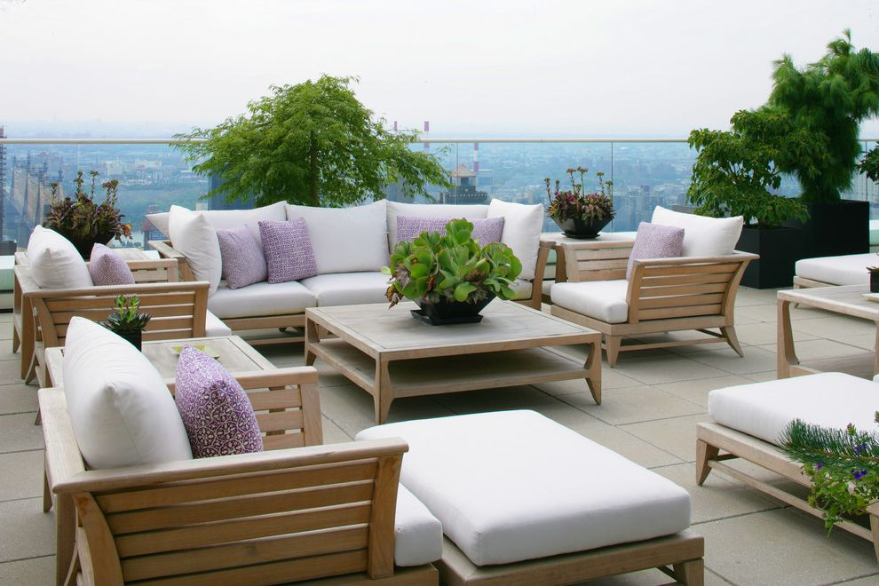 Nu Look Furniture with Contemporary Deck  and Container Plants Decorative Pillows Glass Railing Outdoor Cushions Patio Furniture Potted Plants Roof Terrace Succulents Throw Pillows View