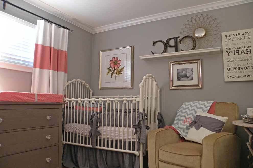 Nurseries in Dallas with Traditional Kids  and Chair Curtain Floral Girl Gray Linen Nursery Pink Rocker Shabby Chic Vintage