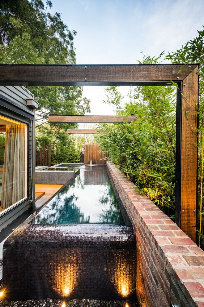 O Connor Pool   Contemporary Pool  and Bamboo Bluestone Brick Retainer Wall Concrete Contemporary Design Modern Landscape Pool Spa Timber Features Wet Edge