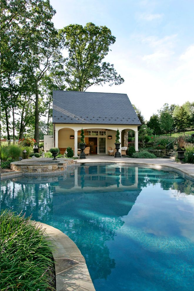 O Connor Pool   Traditional Pool Also Beautiful Pools Bluestone Patio Cabana Cottage Gable Roof Gazebos Guest Cottage Guest House Hot Tub Patio Pool Cabana Pool House Poolhouse Stone Patio Tiny House Transom Windows
