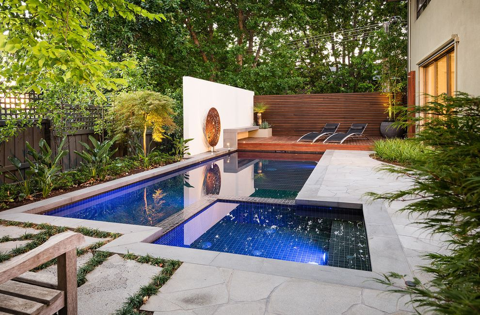 O Connor Pool with Contemporary Pool Also Backyard Bark Mulch Bench Deck Fence Groundcover Hardscaping Hot Tub Landscaping Lattice Fence Plants Pool Chairs Pool Trim Rectangular Pool Sculpture Spa Stone Pavers Wall Divider Wood Slat Fence
